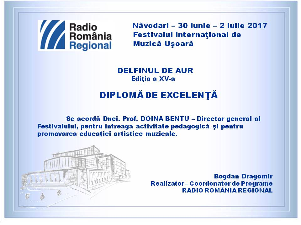 diploma de excelenta RRR - Doina Bentu - Delfinul de Aur 2017 (foto by Bogdan Dragomir)