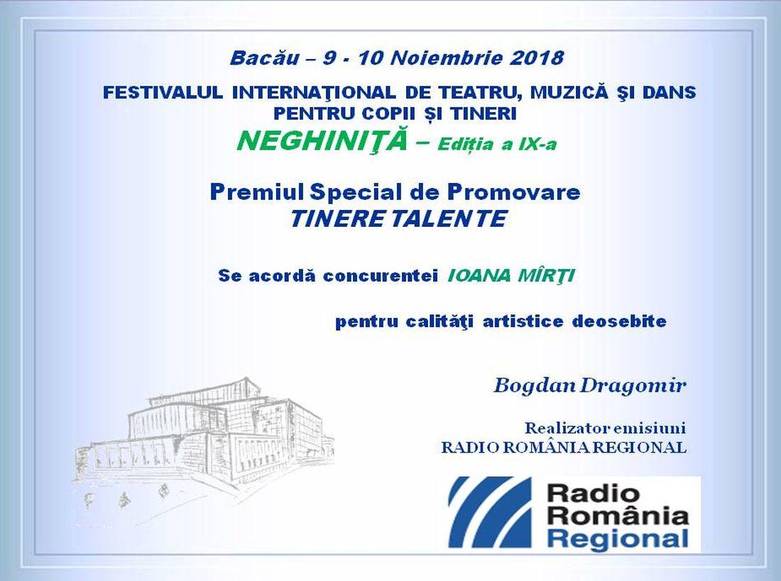 diploma Neghinita-Tinere Talente- interpret. 2018.RRR.1100