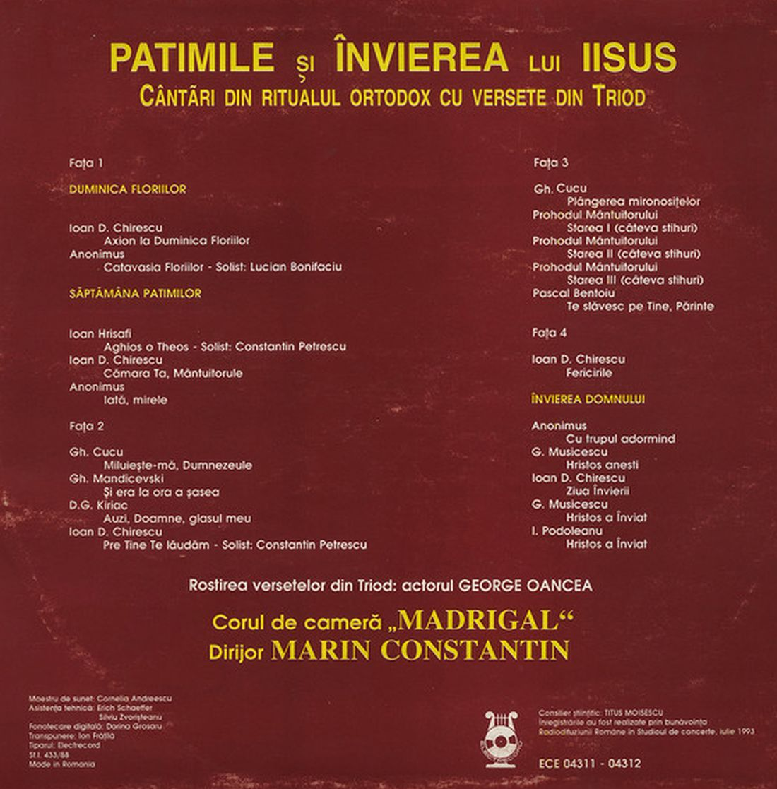Foto 2. Booklet CD Patimile si invierea lui Iisus - Madrigal.Electrecord (foto si prel.1100 B.Dragomir)