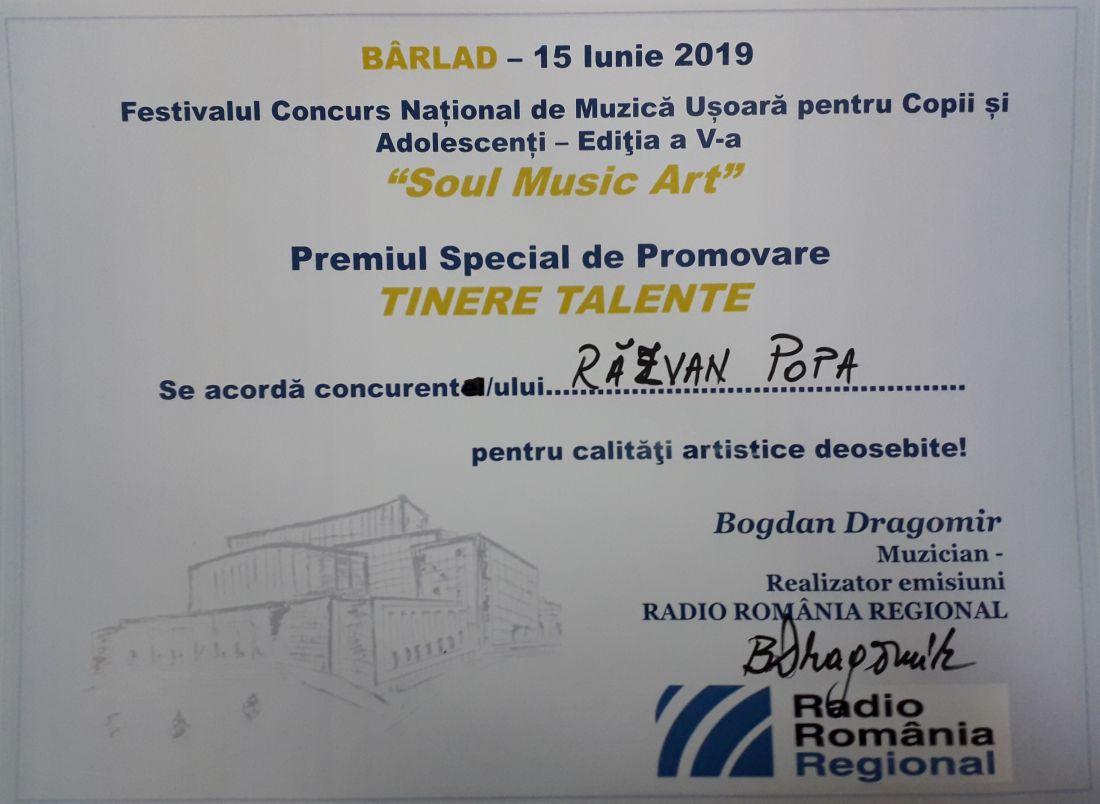 Diploma Tinere Talente - Razvan Popa - Soul Music Art - Barlad 2019 (foto by Bogdan Dragomir)