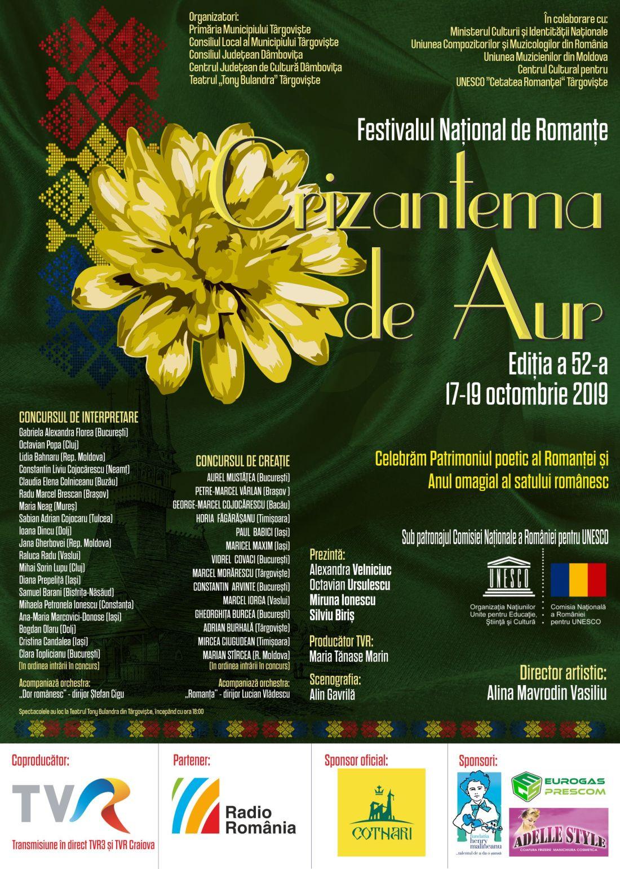 """Afis Crizantema de Aur 2019.2.1100 (foto credit Centrul Cultural pentru UNESCO """"Cetatea Romanţei"""" Târgovişte)"""
