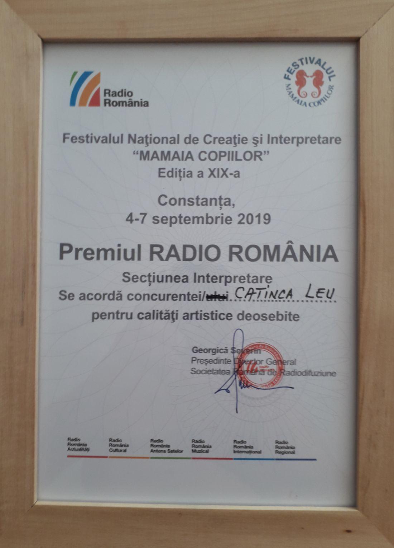 Diploma Premiul Radio Romania - Interpretare Mam. Cop. 2019 - Catinca Leu.1100 (foto by Bogdan Dragomir)